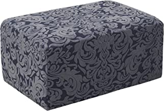 subrtex Jacquard Damask Stretch Oversize Storage Ottoman Slipcover Protector Spandex Elastic Rectangle Footstool Sofa Slip Cover for Foot Rest Stool Furniture in Living Room(Oversize, Grayish Blue)