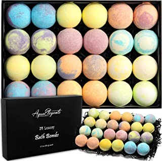 Luxury Bath Bombs for Women - Gift Set of 24 Bathbombs with Organic Essential Oils - Natural Vegan Soap for Moisturizing Fizzy Bubbles, Lavender