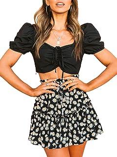 DELIMALI Women 's Ruffles Short Skirt, Fashion Floral High-Waist Pleated Stitching A-line Skirt