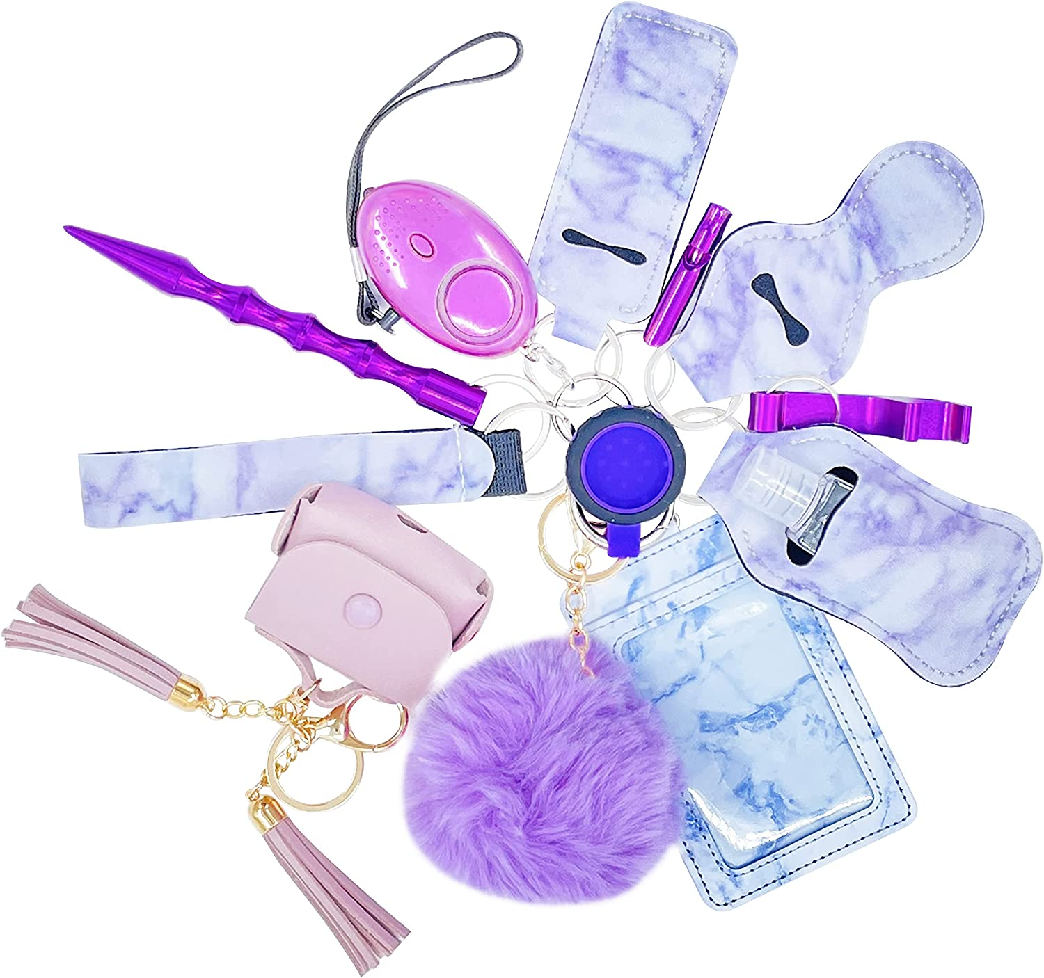 Safety Keychain Set for Woman With Alarm,Window Breaker,Card Holder,hand sanitizer holder,Compatible Airpods/Tags Case Cove