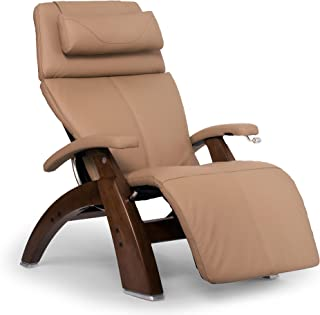 Perfect Chair Human Touch PC-420 Classic Manual Plus Series 2 Walnut Wood Base Zero-Gravity Recliner - Sand Top Grain Leather - in-Home White Glove Delivery
