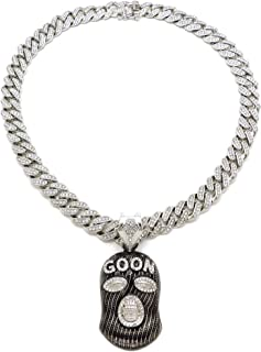 Stone Stud Full Face Ski Mask Goon Pendant with 12mm Iced Out Miami Cuban Chain Necklace