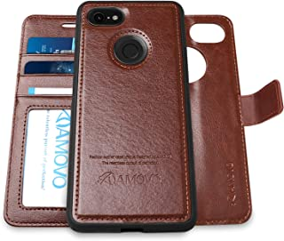 [Upgraded Version] AMOVO Pixel 3 XL Wallet Case [2 in 1] [Wireless Charger] Google Pixel 3 XL Case Wallet Detachable [Vegan Leather] Pixel 3 XL Flip Case with Gift Box Package (Pixel 3XL, Brown)