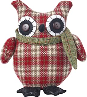 Equuleus Plush Owl Christmas Decoration, Red Owl Stuffed Animal Mantle Sitting Ornament and Holiday Standing Figurine, Handcrafted Embellishments Collection, 10 Inches