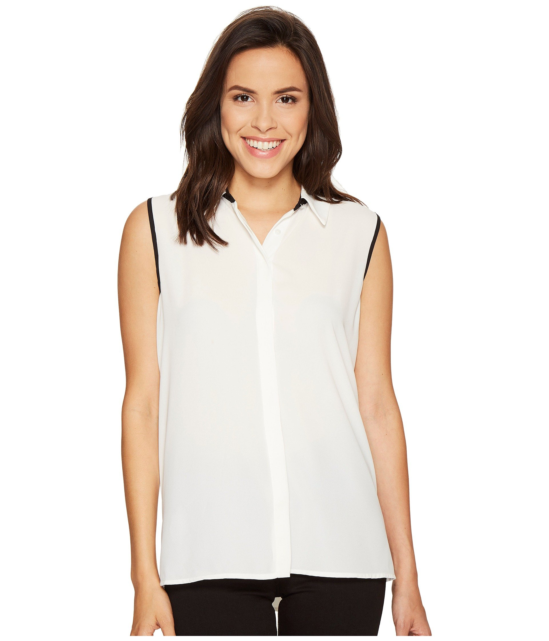 2dc2adac209 VINCE CAMUTO SLEEVELESS COLLARED BUTTON DOWN BLOUSE WITH BACK PLEAT, NEW  IVORY