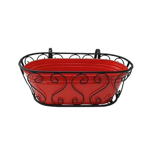 Green Gardenia Railing Planter/Window Box Planter with Metal Pot-White (Red)