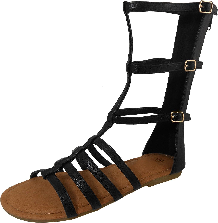 Cambridge Select Women's Open Toe Gladiator Caged Cutout Mid-Calf Flat Sandal