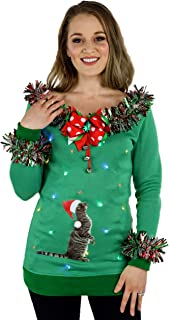 Cat Ugly Christmas Sweater Women With Lights