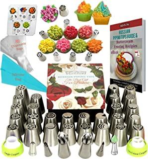 Russian Piping Tips Set DELUXE Frosting Tips 33 GENUINE Large Piping tips for Cake Decorating Supplies Baking Supplies Set Ball Piping Tips +30 Frosting Bags Large Russian tips Cupcake Decorating Kit