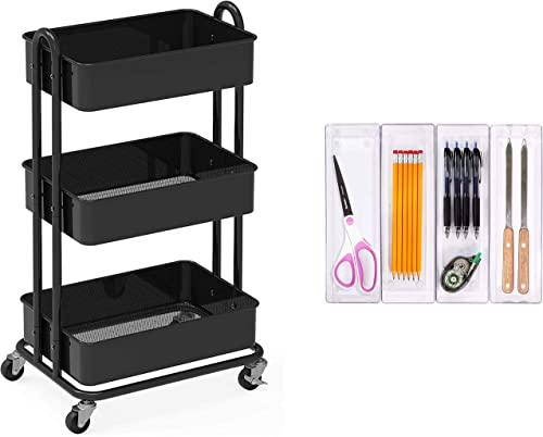 new arrival SimpleHouseware Heavy Duty 3-Tier high quality Metal wholesale Utility Rolling Cart + 4 Pack Plastic Organizers outlet online sale