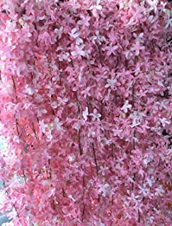 AlphaAcc Artificial Silk Cherry Blossom Flower Vine Hanging Garland Home Wedding Party Decor, Pack of 4 (Pink)