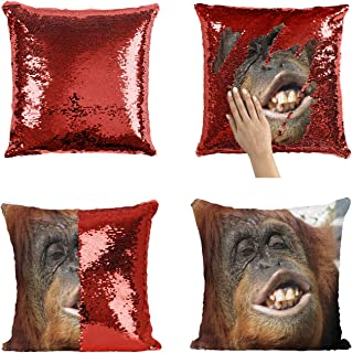 Ugly Gorilla Shimpanzee_P194 Sequin Pillow, Funny Pillow, Sequin Reversible Pillow, Throw Pillow Cover, Décor, Gift for Him Her, Birthday Christmas Halloween, Present (Pillow Cover)