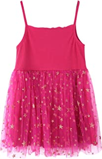 Girls Stars Soft Tutu Dress Multilayer Ruffled Tulle Dress for 1-5 Years Old Girls