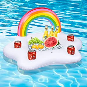 Inflatable Rainbow Cloud Drink Holder, Floating Beverage Salad Fruit Serving Bar Pool Float Party Accessories,Beach Cup Bottle Holder Water Fun Decor Pool Toys