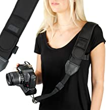 USA Gear Camera Sling Shoulder Strap with Adjustable Black Neoprene, Safety Tether,..