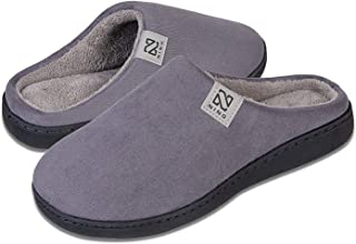 Slippers for Men and Women Suede Memory Foam House Shoes Anti-Skid Rubber Sole for Indoor & Outdoor