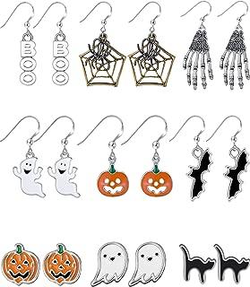 9 Pairs Halloween Earrings Halloween Drop Dangle Earrings Pumpkin Black Cat Stud Earrings for Women Halloween Party Dress