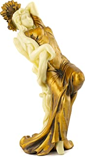 Top Collection Art Nouveau Posing Lady Statue- Hand Painted Collectible New Art Deco Sculpture in Golden Dress- 8.75-Inch Alphonse Mucha Summer Figurine