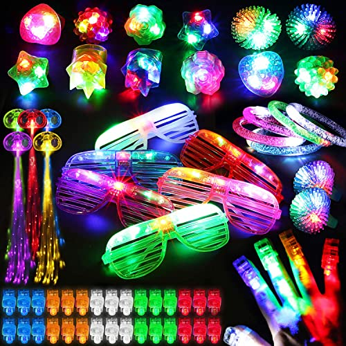 78PCs LED Light Up Toy Party Favors Glow In The Dark,Party Supplies Bulk For Adult Kids Birthday Halloween With 50 Fi...