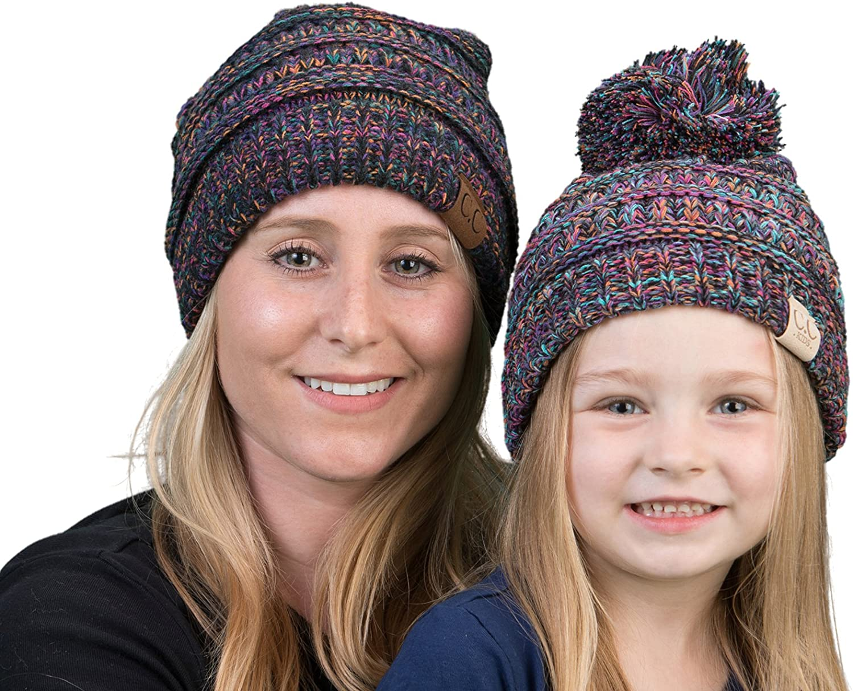 Mother(NO POM)/Daughter(POM) Winter Hat Bundle (4-Tone) - Black Kaleidoscope