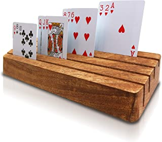 Playing Card Holder-Rack Tray Organizer for Kids Seniors Adults - Arthritis Solution-12x4 inch New Improved Version with Inclined Slots for Clear Vision Comes with Cotton Carry-on Pouch.
