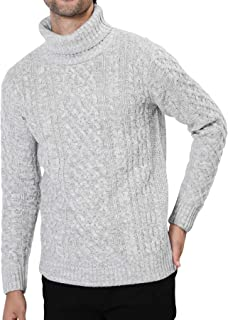 JIGGYS SHOP ニット セーター メンズ タートルネック ケーブル編み 厚手 長袖 防寒 ボーダー