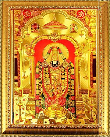 Suninow God Tirupati Balaji Lakshmi Lord Venkateswara Photo Frame 33 X 24 Cm Amazon In Home Kitchen
