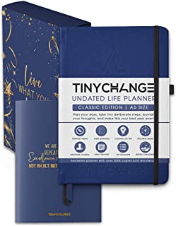 TINYCHANGE Undated Life Planner Diary A5; Daily Weekly and Organizer Notebook Habit Tracker and Gratitude Journal with Pro...