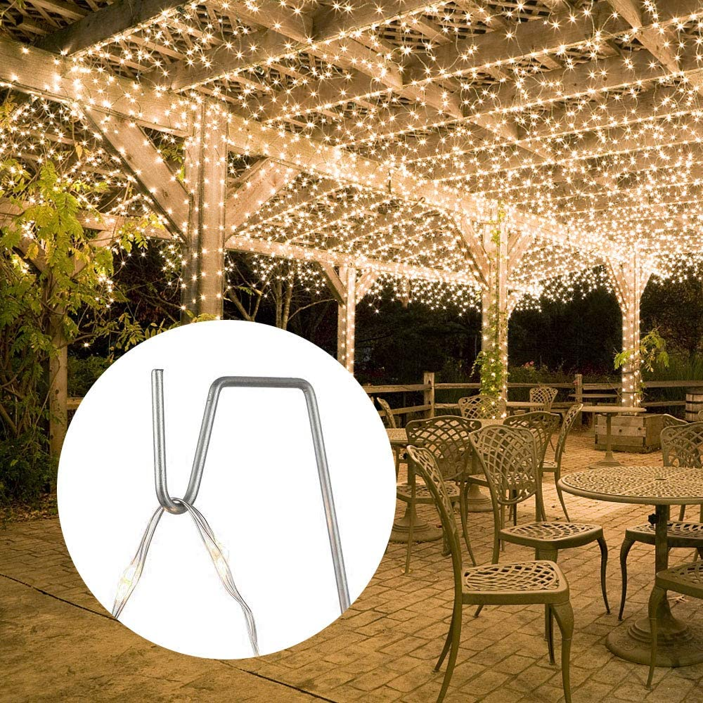 2.4inch 60pack Picowe Christmas Light Hanger Hook for Gutters with Mesh Leaf Guard for Christmas Ornament Outside Decoration Lights Stainless Steel