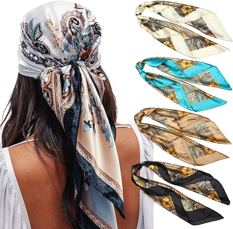 "35"" Satin Large Square Head Scarves Neck 4PCS Austin Mall Silk Ranking TOP10 S - Like"