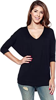 Alexander + David Women's Soft Knit V-Neck Dolman Tunic Top with ¾ Long Sleeves