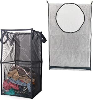 Mesh Clothes Hamper Set of 2, Double Laundry Basket, Collapsible&Pop-up Laundry Hamper(12.6''x12.6''x25.2'') and Hanging L...