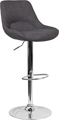 Flash Furniture Contemporary Dark Gray Fabric Adjustable Height Barstool with Chrome Base