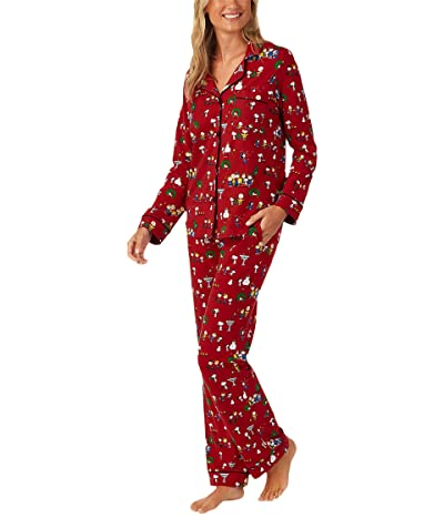 BedHead Pajamas Long Sleeve Classic Notch Collar Pajama Set (Cotton Spandex) (Peanuts Winter Fun) Women