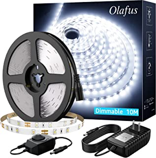 Olafus White LED Strip Lights, 32.8ft Dimmable