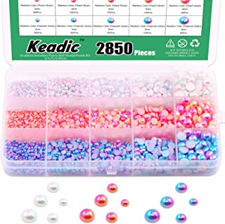 Keadic 2850 Pieces Gradient Imitation Pearls Half Round Pearls Assorted Mixed Sizes, 3/4/5/6/8mm ABS Flat Back Beads for D...