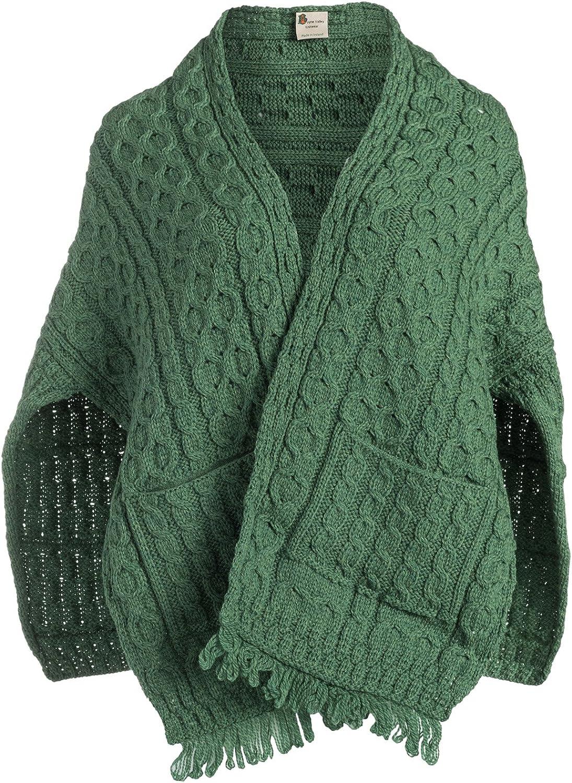 Boyne Valley Knitwear Merino Wool Knit Ladies Wrap with Pockets