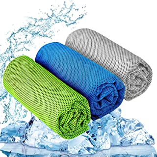 """Dzman Cooling Towel 3 Pcs (47""""x12"""") Microfiber Towel for Instant Cooling Relief, Cool Cold Towel for Yoga Golf Travel Gym ..."""