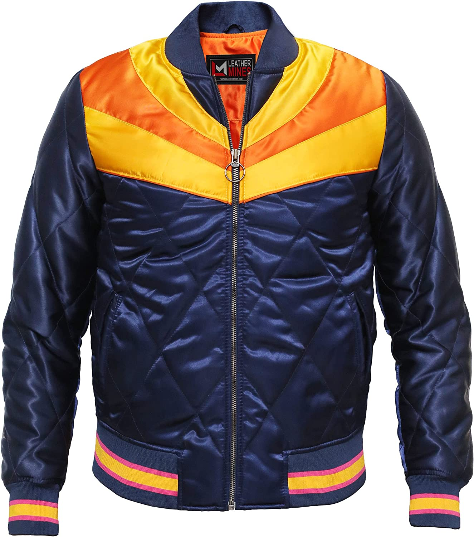 70s Jackets, Furs, Vests, Ponchos Rising Sun Navy 70s Bomber Varsity Ski Lightweight Quilted Satin Womens Jacket  AT vintagedancer.com