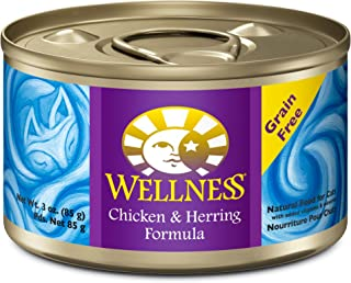 Wellness Complete Health Natural Canned Grain Free Wet Cat Food, Chicken & Herring Pate, 3-Ounce Can (Pack of 24)