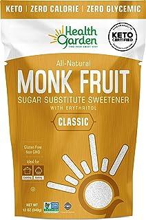 Health Garden Monk Fruit Sweetener, Classic White - Non GMO - Gluten Free - 1:1 Sugar Substitute - Keto Friendly - Taste L...