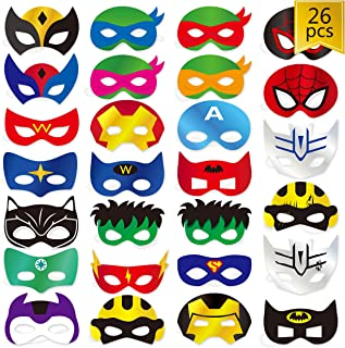 Superhero Party Mask, Cardboard 26 pcs Cosplay Masks Party Supplies for Boys and Girls Blue