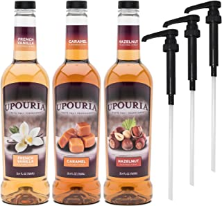 Upouria French Vanilla, Caramel & Hazelnut Flavored Syrup, 100% Vegan and Gluten-Free, 750ml bottles - Set of 3 - Pumps in...