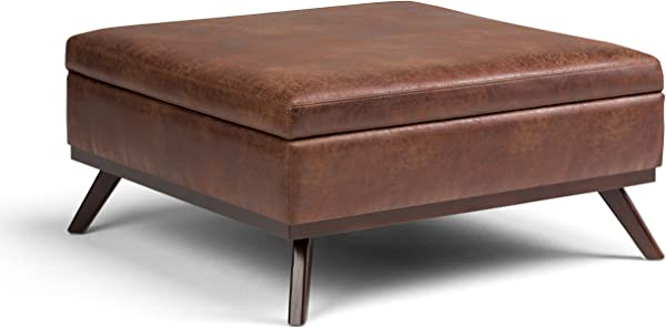 Simpli Home AXCOT267L DSB Owen 38 Inch Wide Mid Century Modern Square Storage Ottoman In Distressed Saddle Brown Faux Air Leather