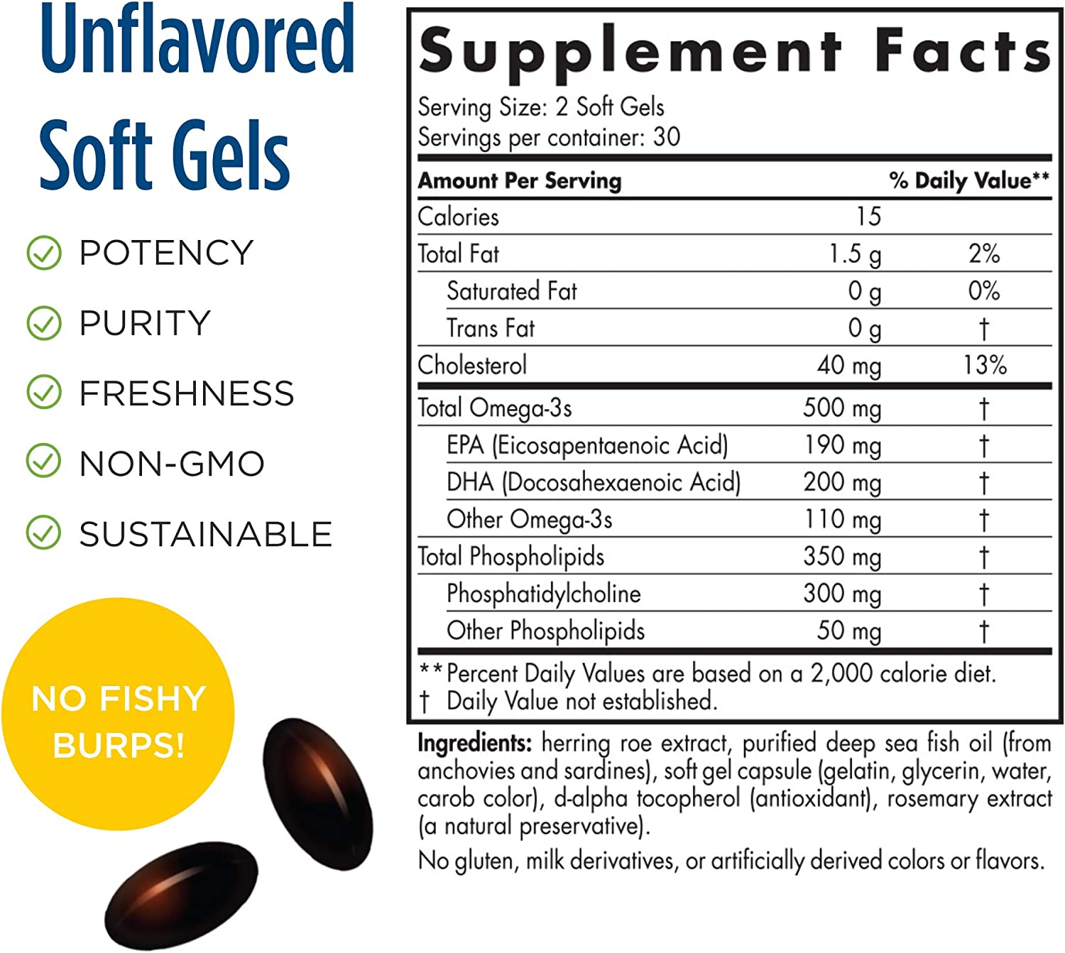 Nordic Naturals Omega-3 Phospholipids, Unflavored - 500 mg Omega-3 & 350 mg Phospholipids - 60 Soft Gels - Heart & Brain Health - Small, Easy-to-Swallow Soft Gels - Non-GMO - 30 Servings