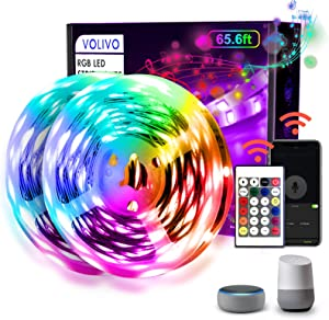 VOLIVO WiFi Smart Led Strip Lights 65.6ft Works with Alexa and Google Assistant, 2 Rolls of 32.8ft RGB Led Light Strips, Music Sync Color Changing Led Lights for Bedroom, Home, Kitchen, Party