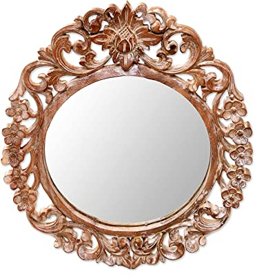 R.A.A.WOOD CARVING Hand Carved Natural Wood Floral Round Wall Mirror from India, Brown 'Garden'