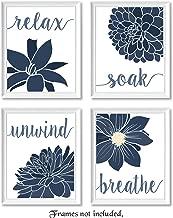 Relax, Soak, Unwind, Breathe Navy Blue & White Bath Flower Signs Poster Prints, Set of 4 (8x10) Unframed Photos, Wall Art Decor Gifts Under 20 for College, Home, Studio, Student, Teacher, Floral Fan