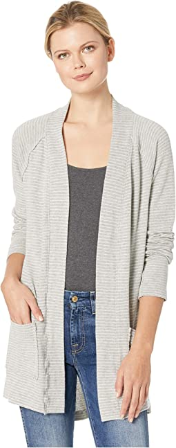 Heathered Stripe Sweater Raglan Sleeve Cardigan