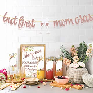 MORDUN MOMosa Bar Sign Banner Tags - Rose Gold Decorations for Baby Shower Mom Birthday Mother's Day New Mum Brunch Dia de las Madres